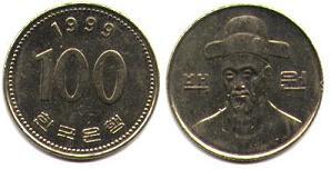 Les monnaies en Asie de l'(extrême) est Correedusud_100won